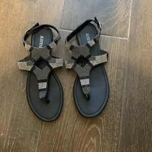 Just Fab black beaded Sandals